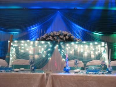 quinceanera head table decorations wedding event decorations up lighting - Event Decorations