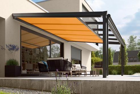 Markiser, persienner och mörkläggning Moogio Solskydd Backyard - store exterieur veranda prix