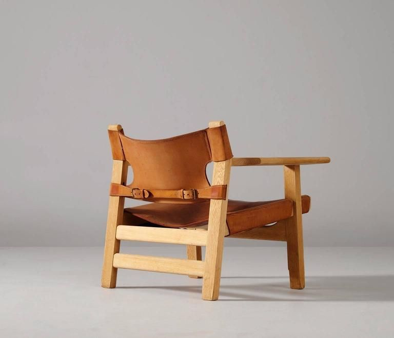 Spanish Chair In Solid Oak And Cognac Leather By Borge Mogensen Manufactured By Fredericia Furniture Denmar Spanish Chairs Chair Restaurant Chairs For Sale