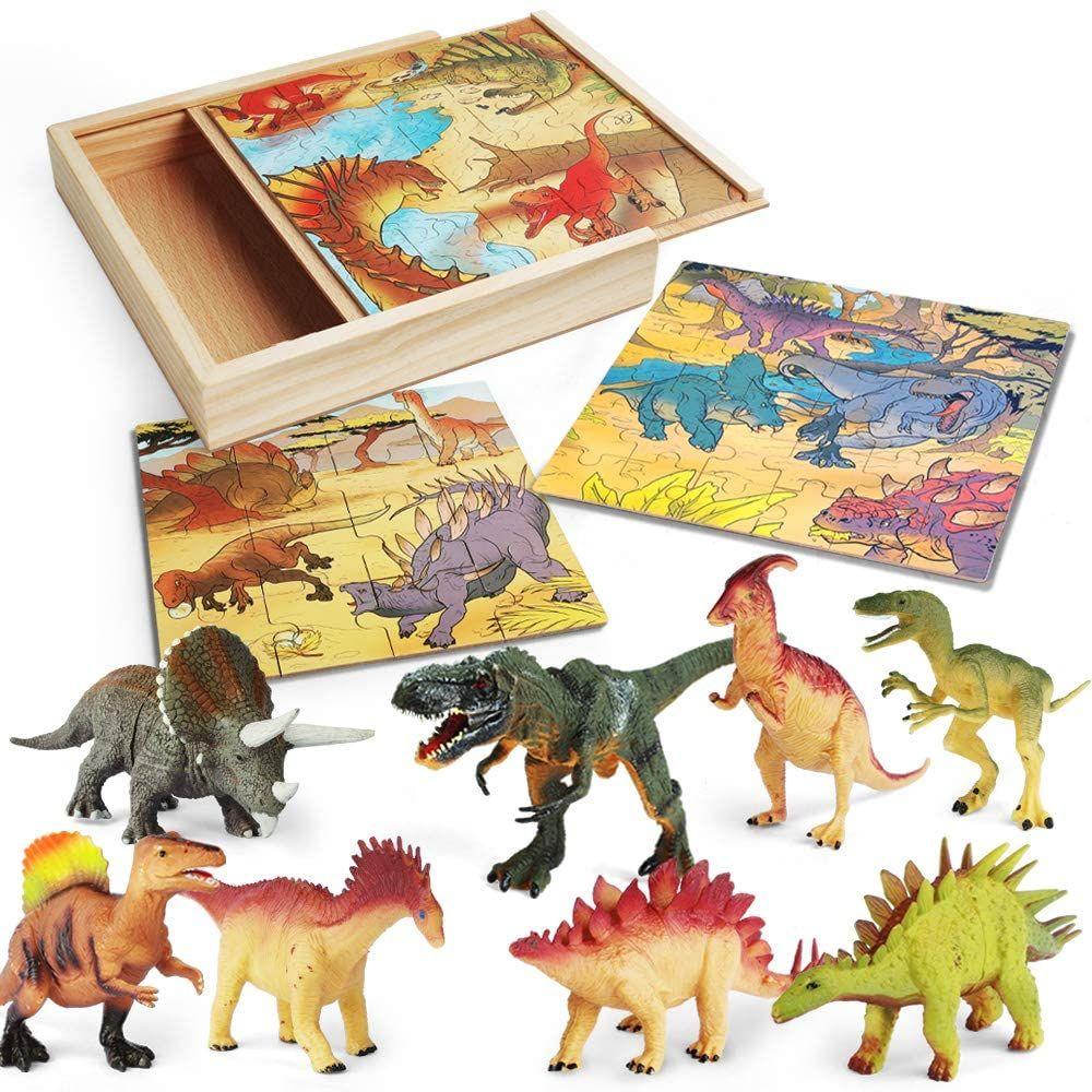 Lurlin 3 In 1 Dinosaur Jigsaw Puzzles A Wooden Storage Box 12 Pcs Realistic Figures Wooden Storage Boxes Wooden Storage Dinosaur Puzzles