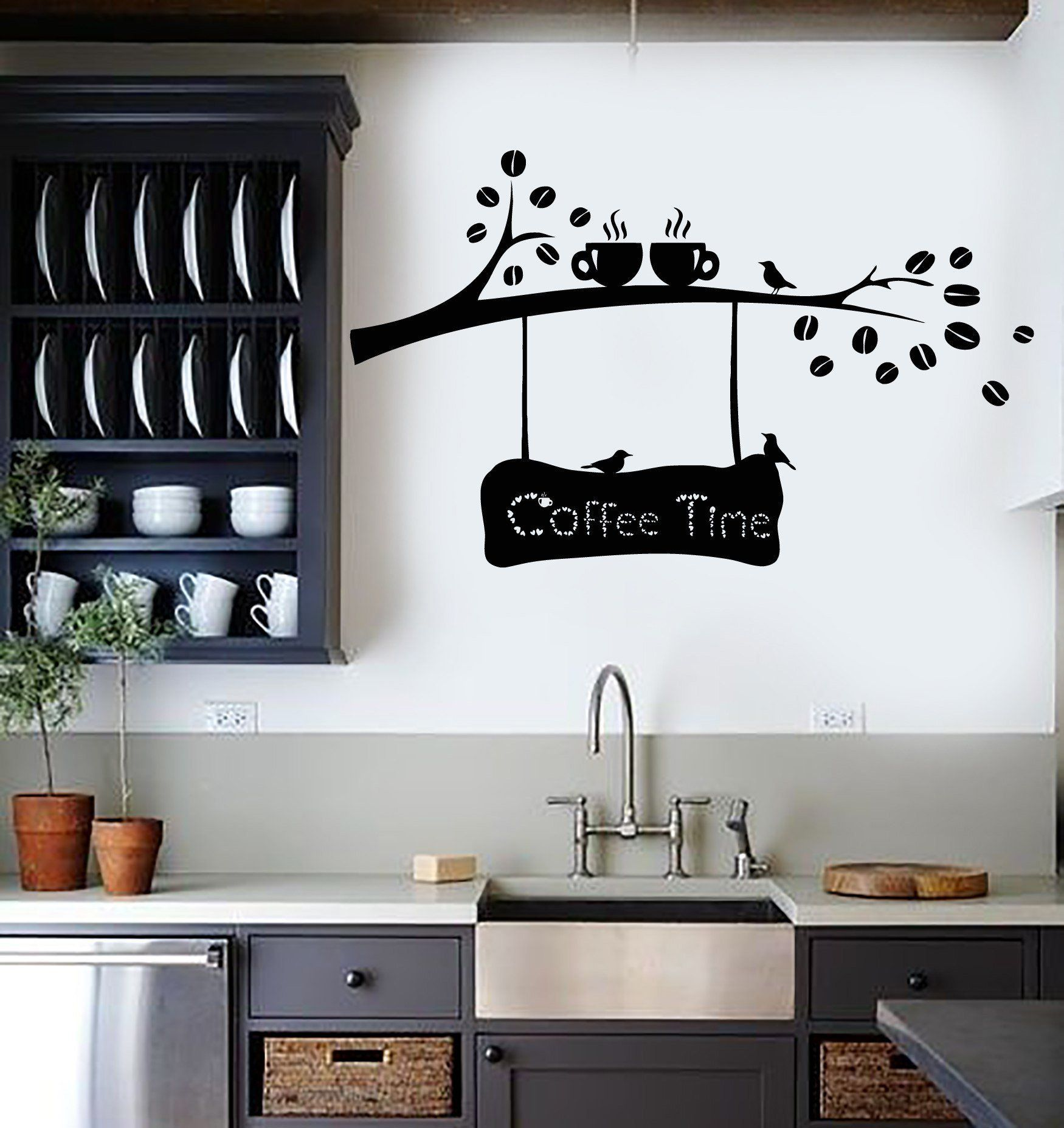 Vinyl Wall Decal Coffee Beans Branch Cup