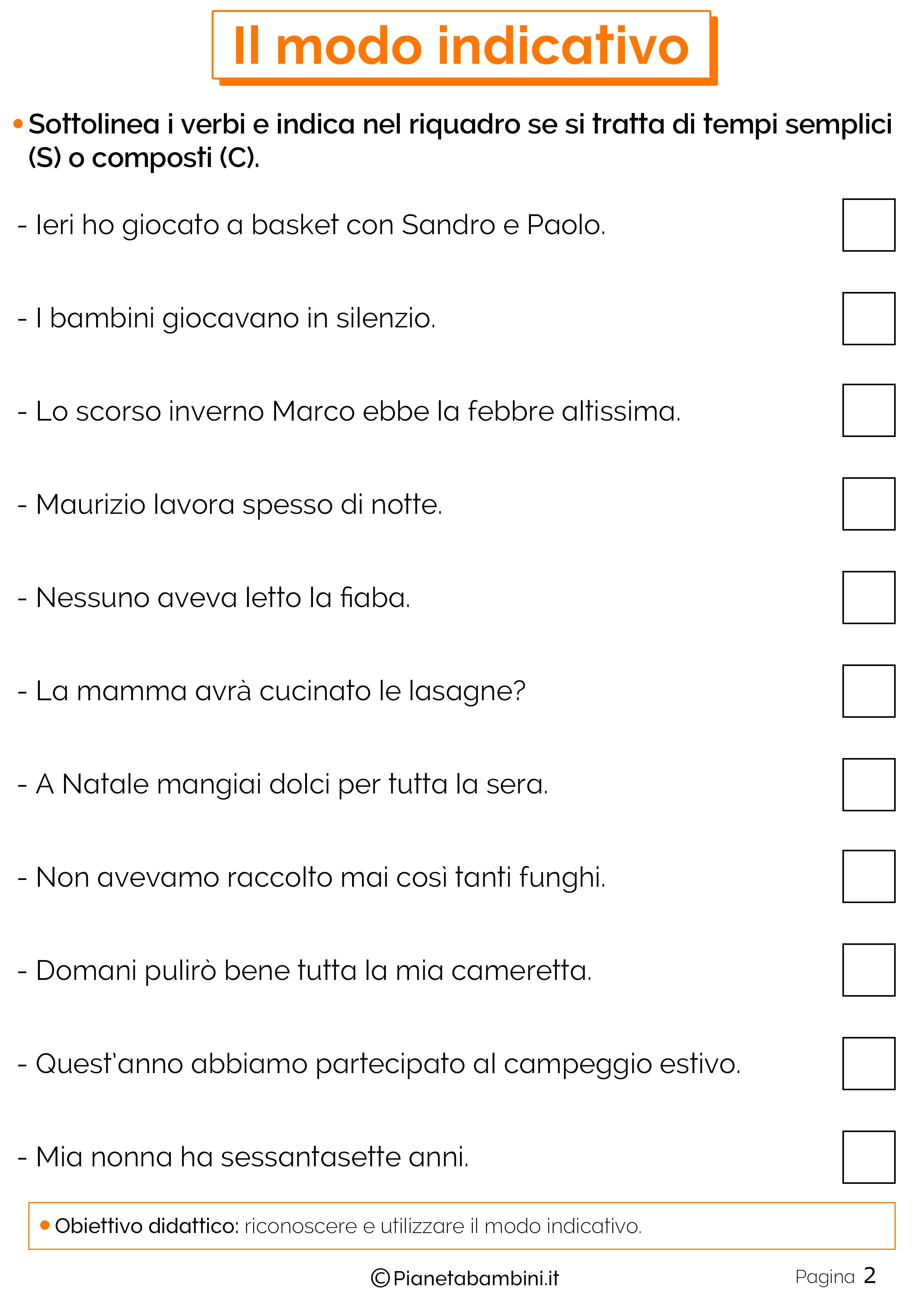 Il Modo Indicativo Esercizi Per La Scuola Primaria Scuola