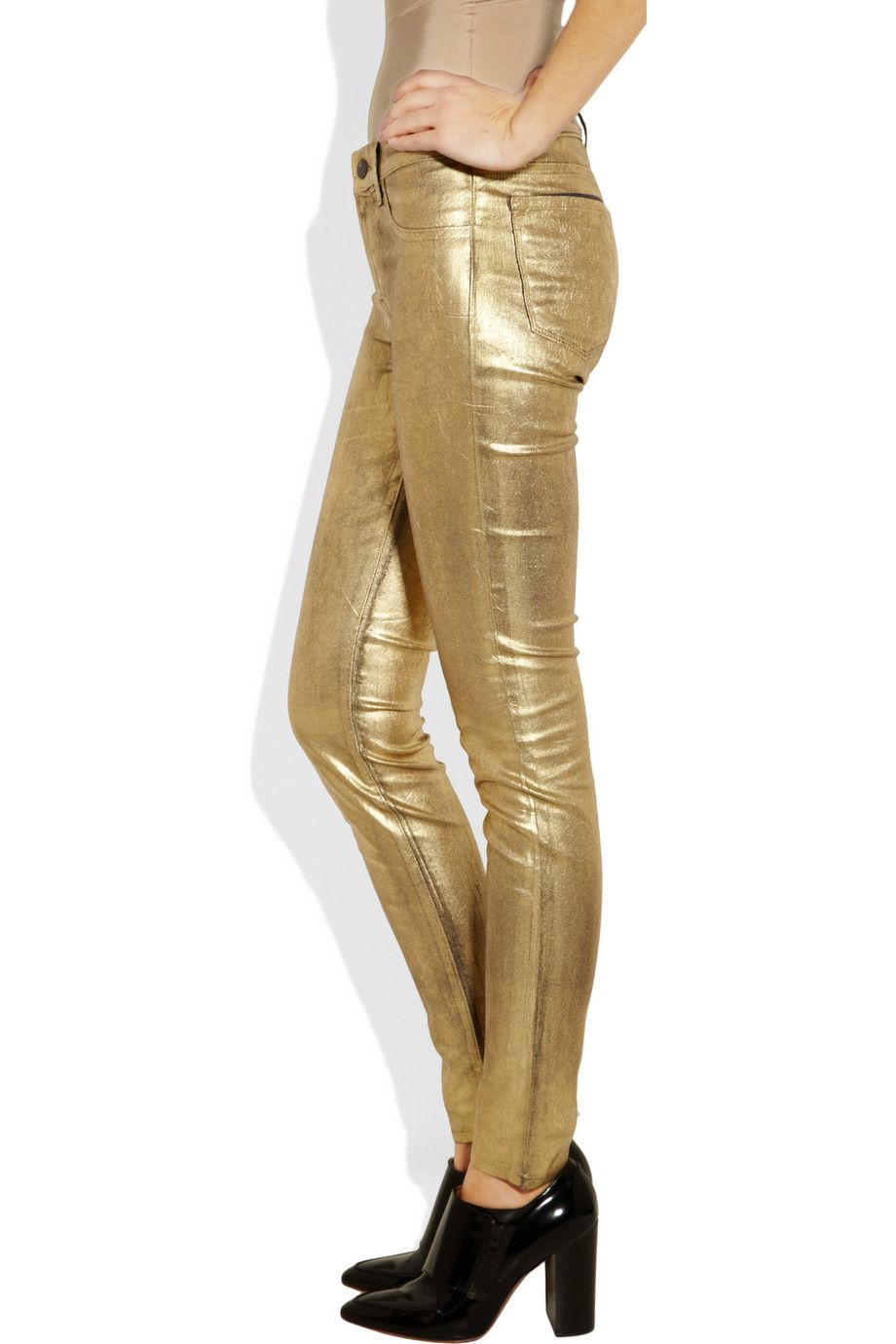 J Brand Denim | Metallic-coated mid-rise skinny jeans | NET-A-PORTER.COM