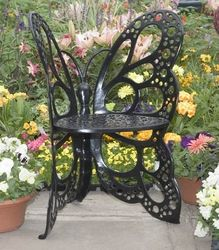 Elegant FlowerHouse Wrought Iron Patio Butterfly Chair In Black   Click To Enlarge