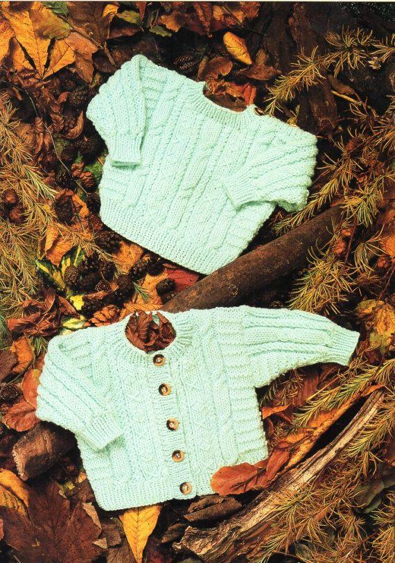 Baby aran sweater cardigan knitting pattern pdf cable jacket jumper ...