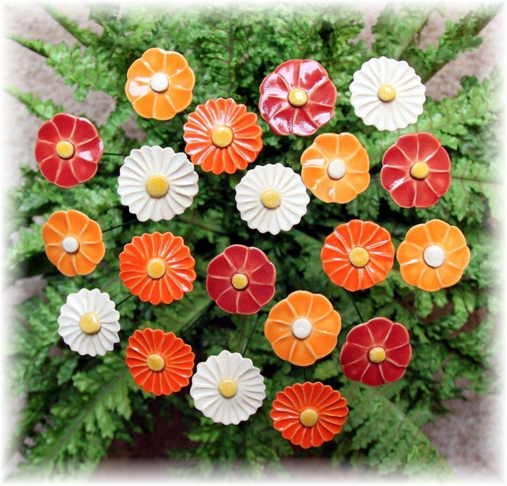 Gartendeko aus ton  20 Blumen, Handarbeit, Keramik, Unikat, Stele, Gartendeko, Blüten ...