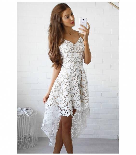 841ef157ea18 Ασύμμετρο δαντελένιο φόρεμα Πλεκτά Φορέματα