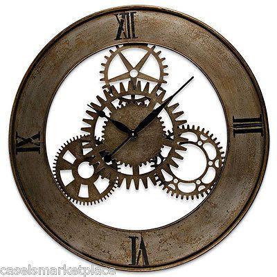 Industrial Design Large Open Back Metal Gear Wall Clock