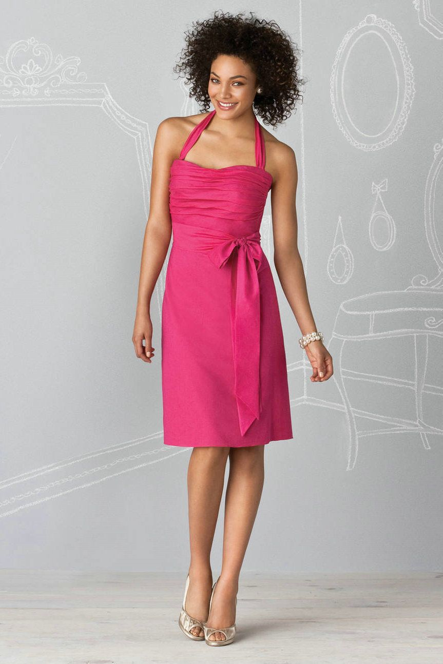 Custom made halter chiffon ruched short hot pink bridesmaid dress custom made halter chiffon ruched short hot pink bridesmaid dress wholesale with ribbon at wholesale price ombrellifo Image collections