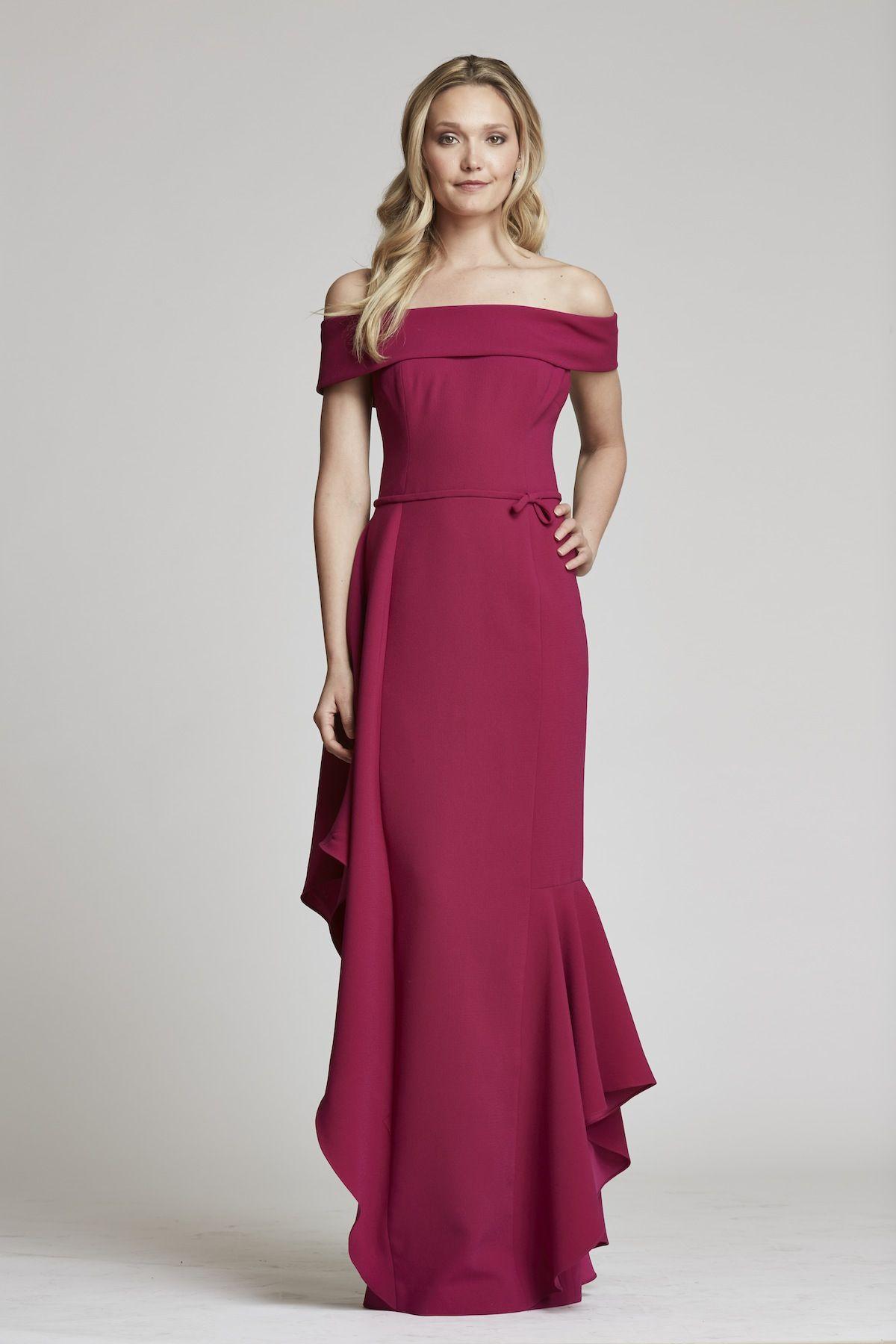 Crepe Portrait Collar Gown | Teri Jon | Mother of the bride ...