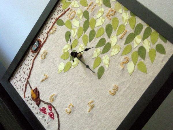 Woodland Clock {finally finished} by StitchedInColor, via Flickr