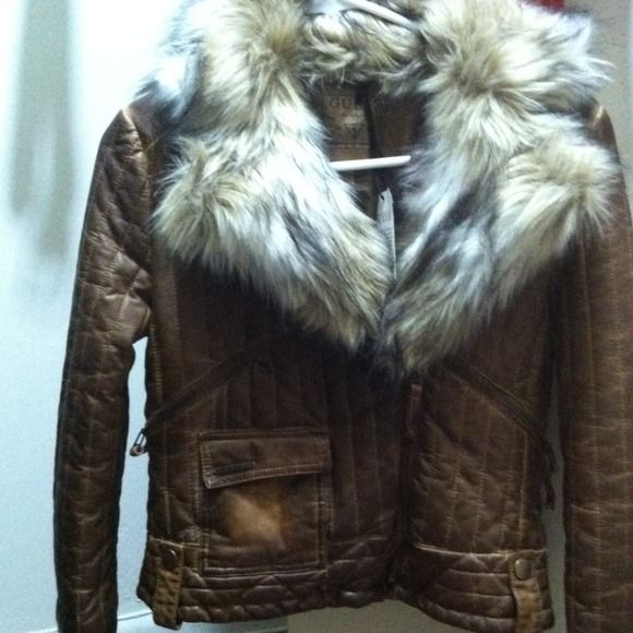Guess jacket... This jacket is brown no hood fur around the collar very stylish never worn still has tags... Guess Jackets & Coats