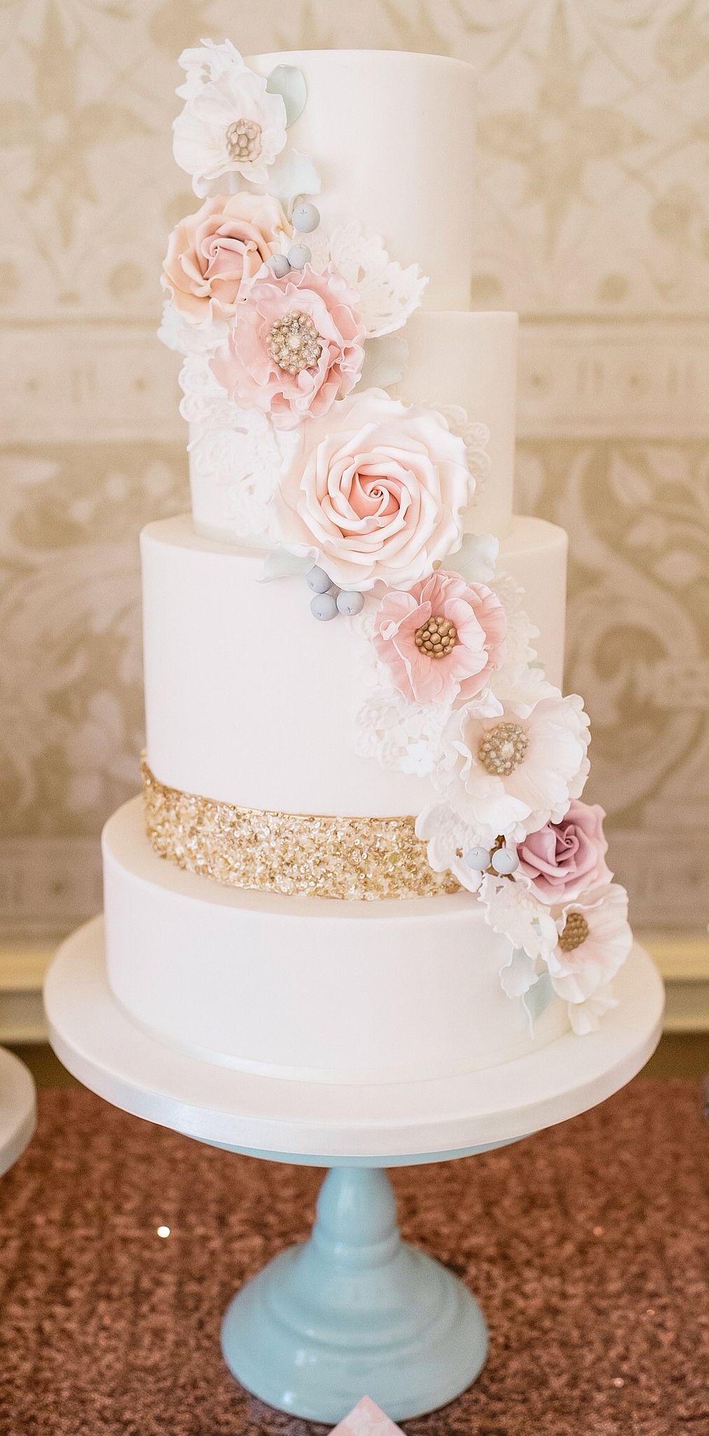 Sequins and flowers cake wedding cakes pinterest wedding