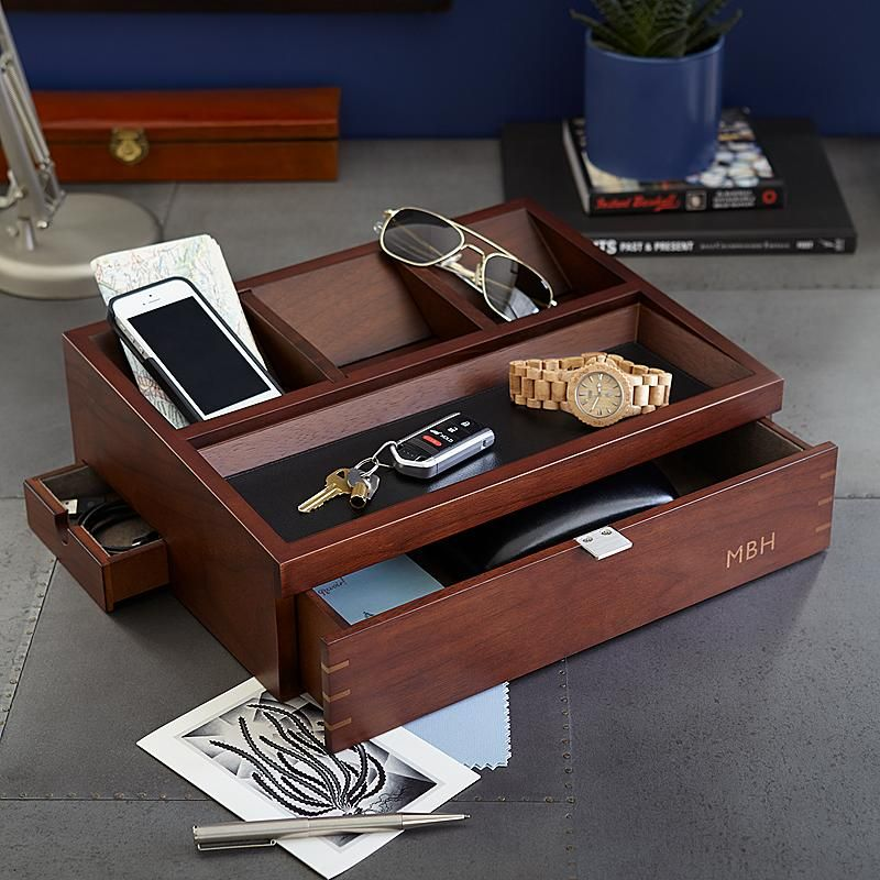 Men S Wood Charging Station And Valet Personalized