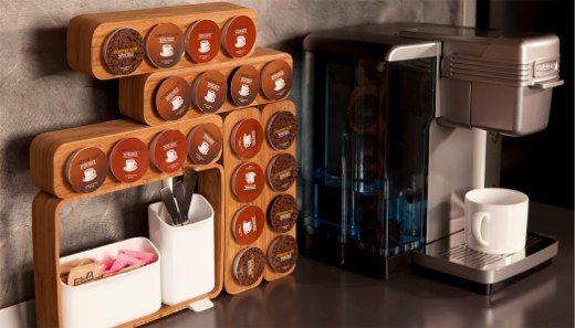 Bamboo Coffee Pod Holders Coffee Station Coffee Keurig Storage