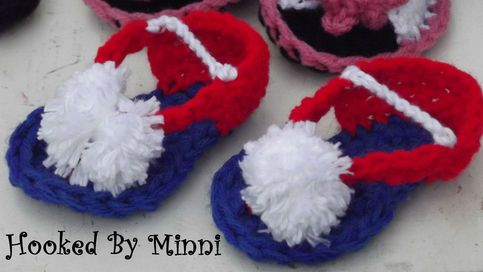 Adorable baby flip flops, just in time for the 4th of july... Size 3 -6 months