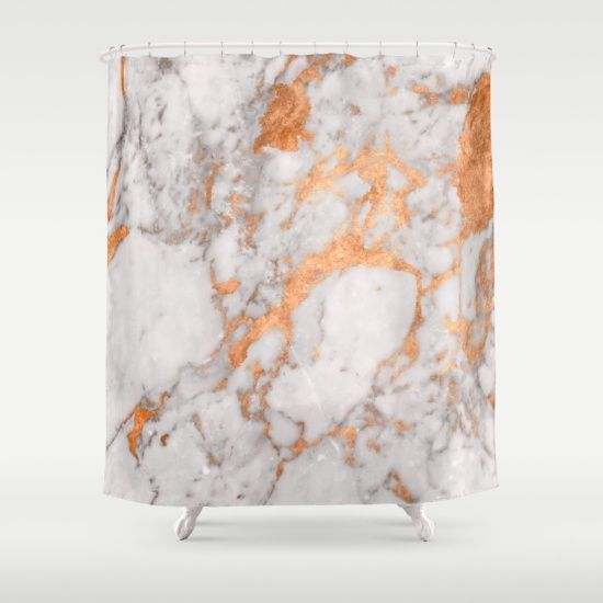 Elegant copper   marble shower curtain  Minimal classic modern decoration  for your home  Geode. Copper Marble Shower Curtain   Copper  Minimal classic and Gray