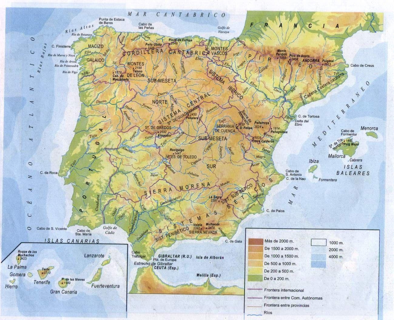 Mapa Fisico Peninsula Iberica Rios.Peninsula Iberica Mapa Fisico Mapa Fisico De Espana