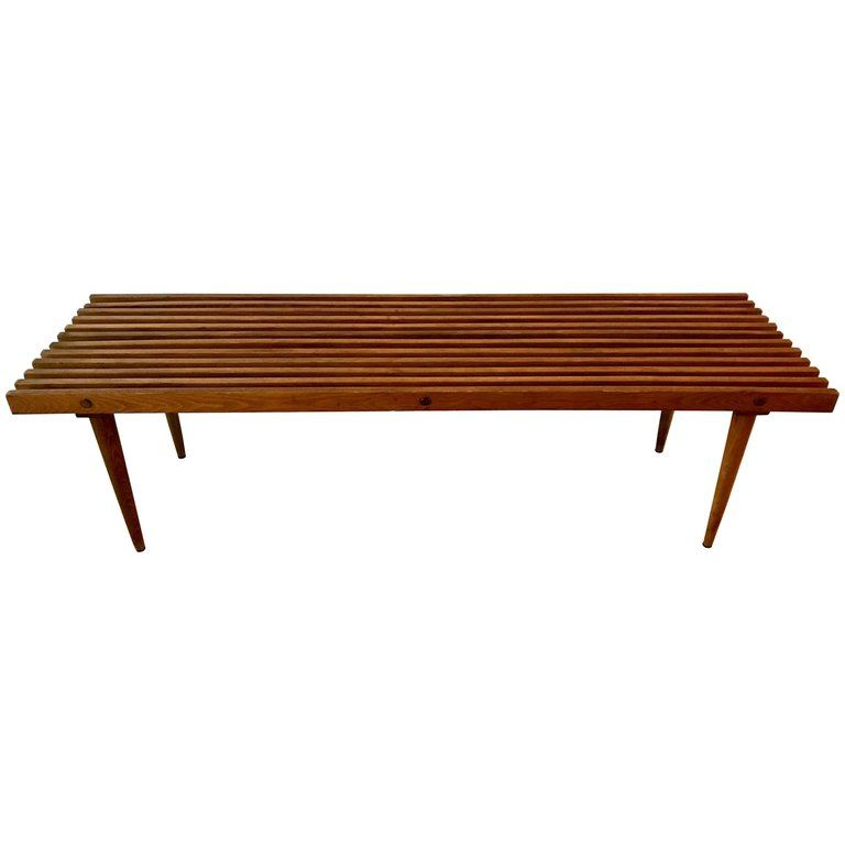 Mid Century Modern Slat Bench With Tapered Legs 1960 S In 2019 Products Bench Furniture Bench Legs