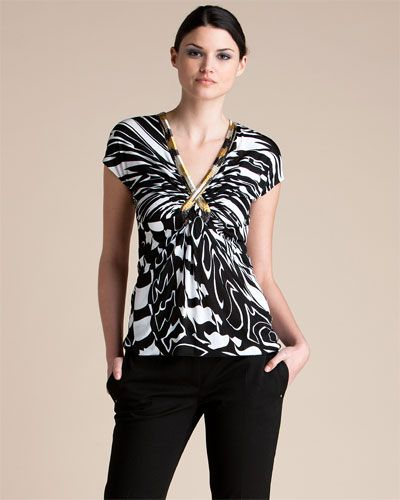 Emilio Pucci Black & White Top with Beaded Neck