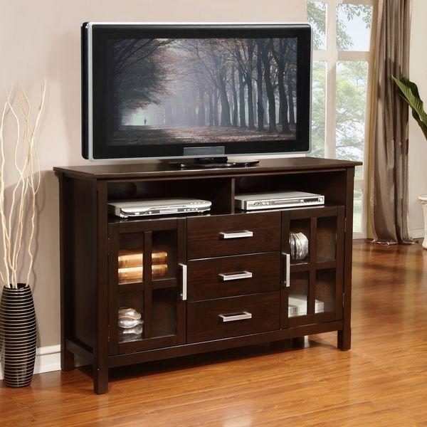 53W 16.5D 35H WYNDENHALL Waterloo Walnut Brown Tall TV Stand