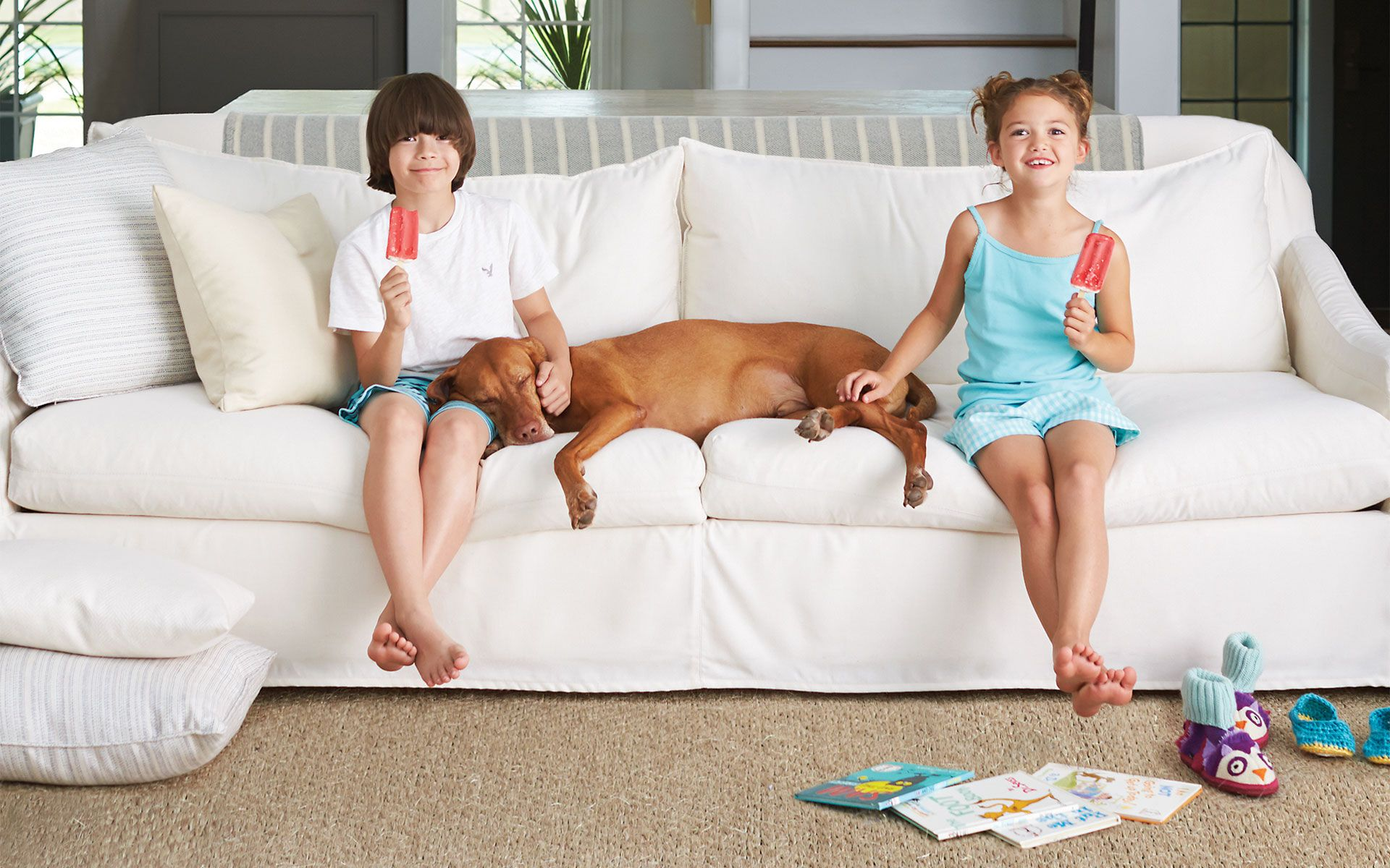 Sunbrella fabrics are so easy to clean they are completely worry free let kids be kids and pets be pets even with white furniture