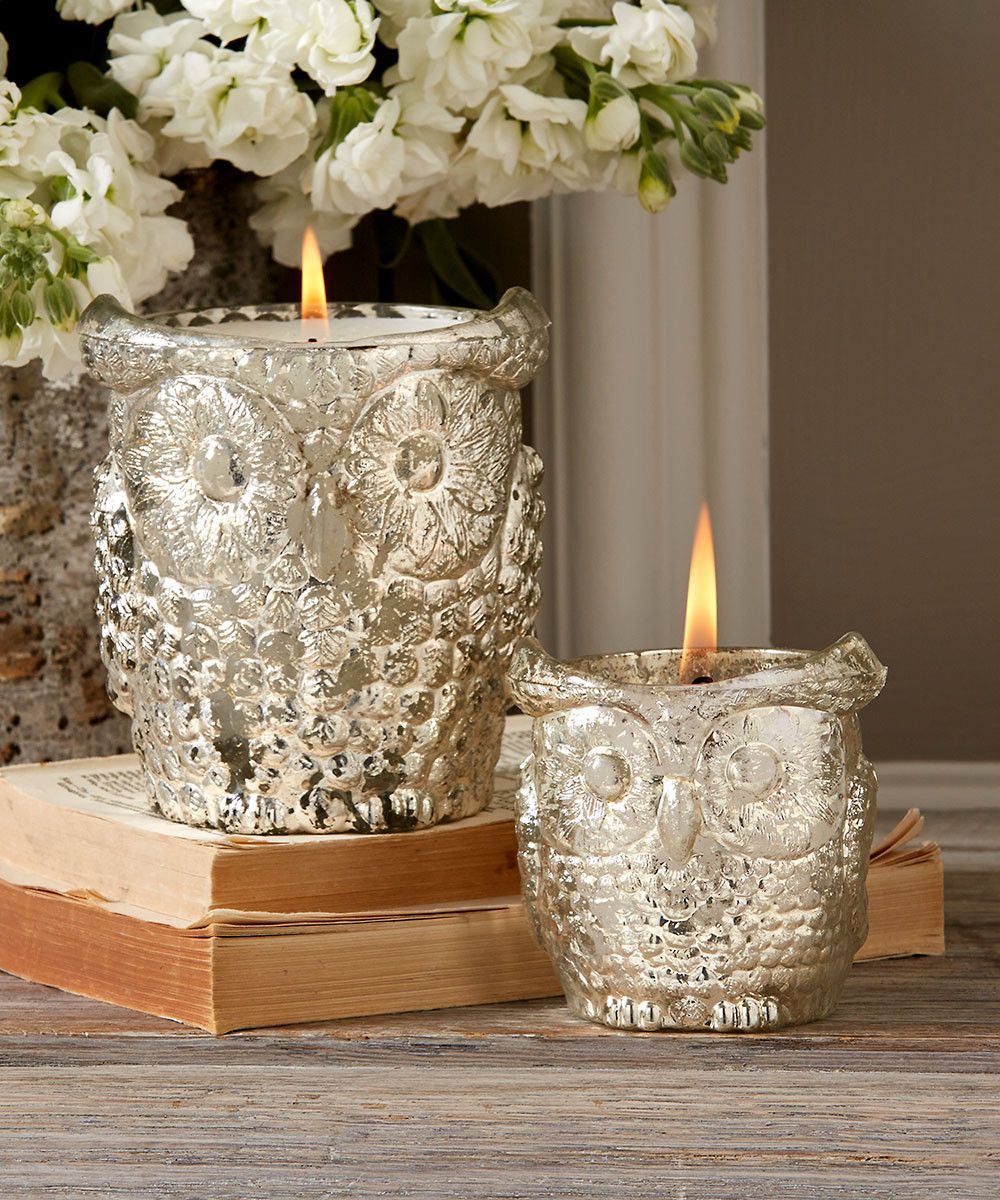 Antiqued Silver Owl Candleholders Filled - Set of 2