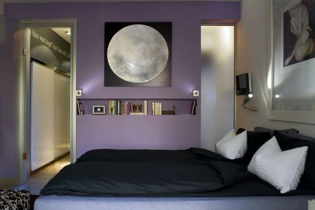kleines schlafzimmer wandfarbe lavendel wanddeko schwarz weiße - wanddeko für schlafzimmer