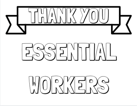 Thank Essential Workers Coloring Pages Worker Essentials