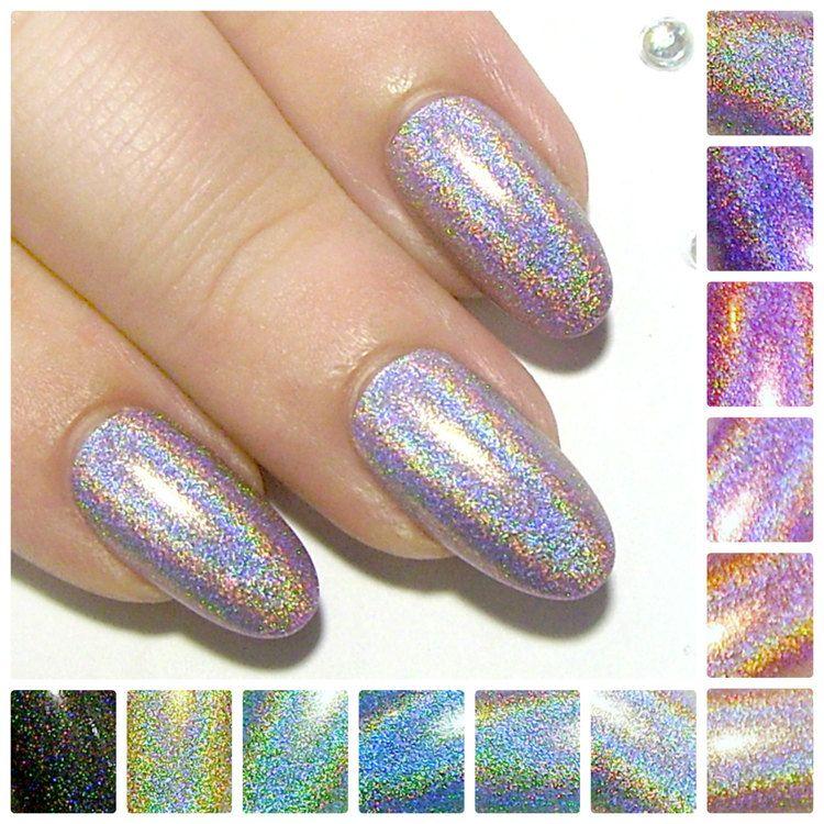 Stiletto Faux Nails Holographic Press On Nails Quick False Nails ...