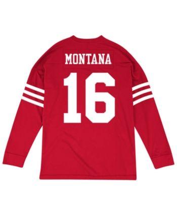 d50e44edcbc Mitchell   Ness Men s Joe Montana San Francisco 49ers Retro Player Name    Numer Longsleeve T-Shirt - Red White M
