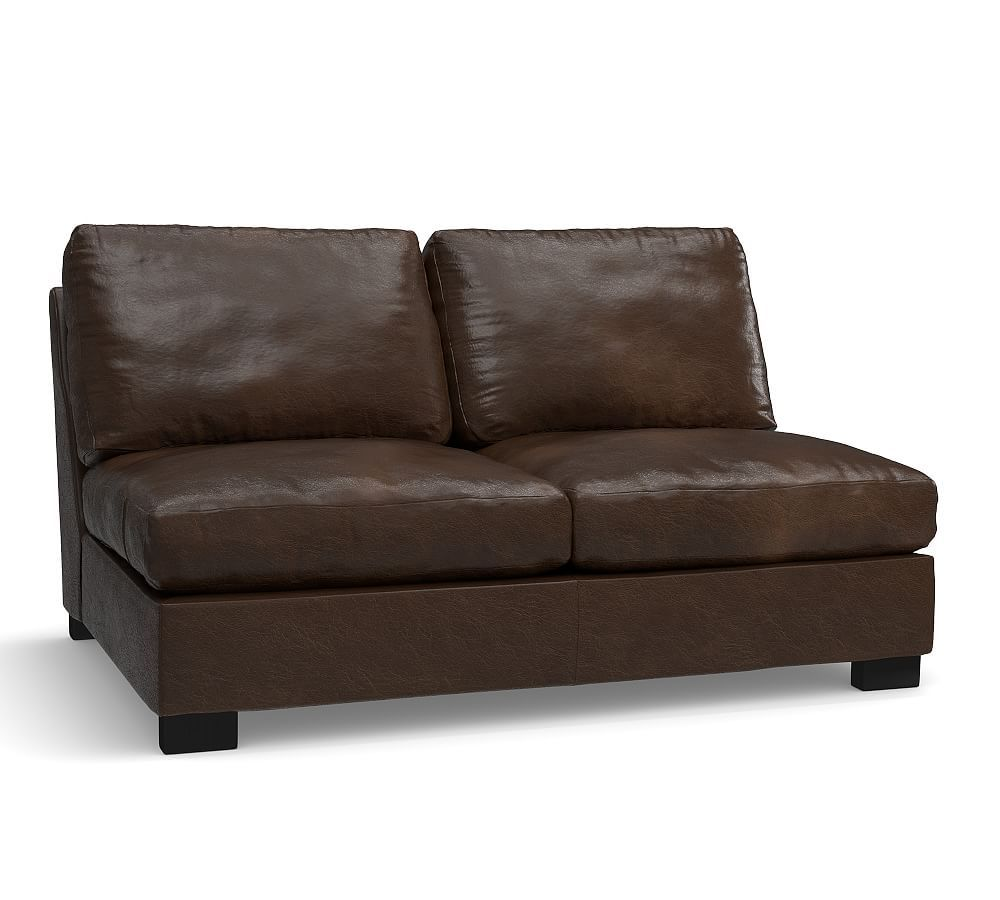 Turner Leather Armless Loveseat, Down Blend Wrapped