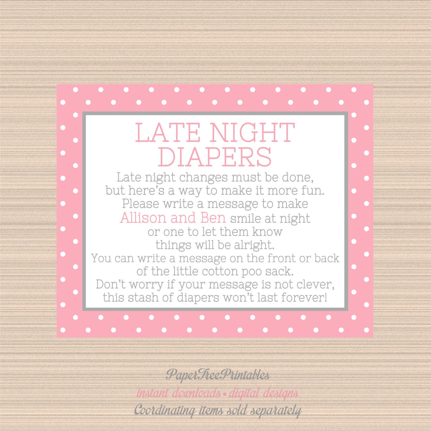 Cute as a Button Baby Shower, Late Night Diapers Digital Sign, Pink ...