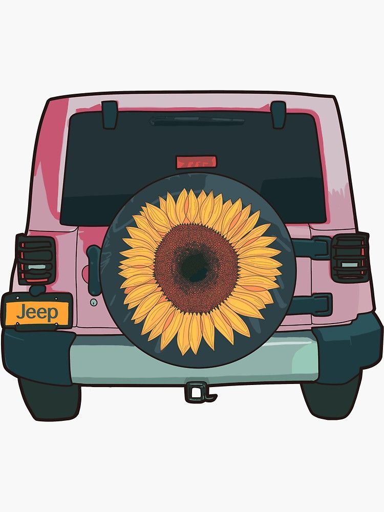 Easy Jeep Drawing : drawing, Sunflower, Llustration', Sticker, MimieTrouvetou, Retro, Painting,
