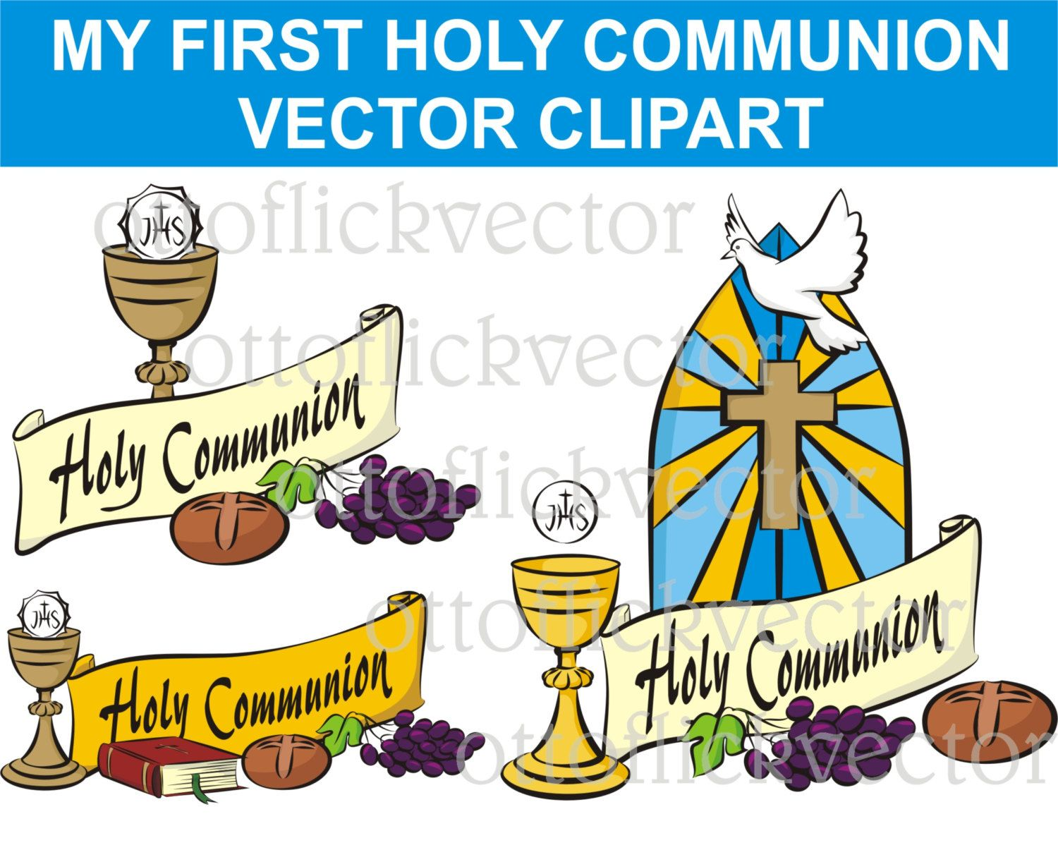 MY FIRST Holy COMMUNION Vector Clipart, religion symbols