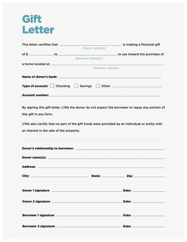 Fha Gift Letter Template