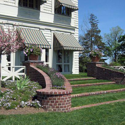 grass steps and brick planter