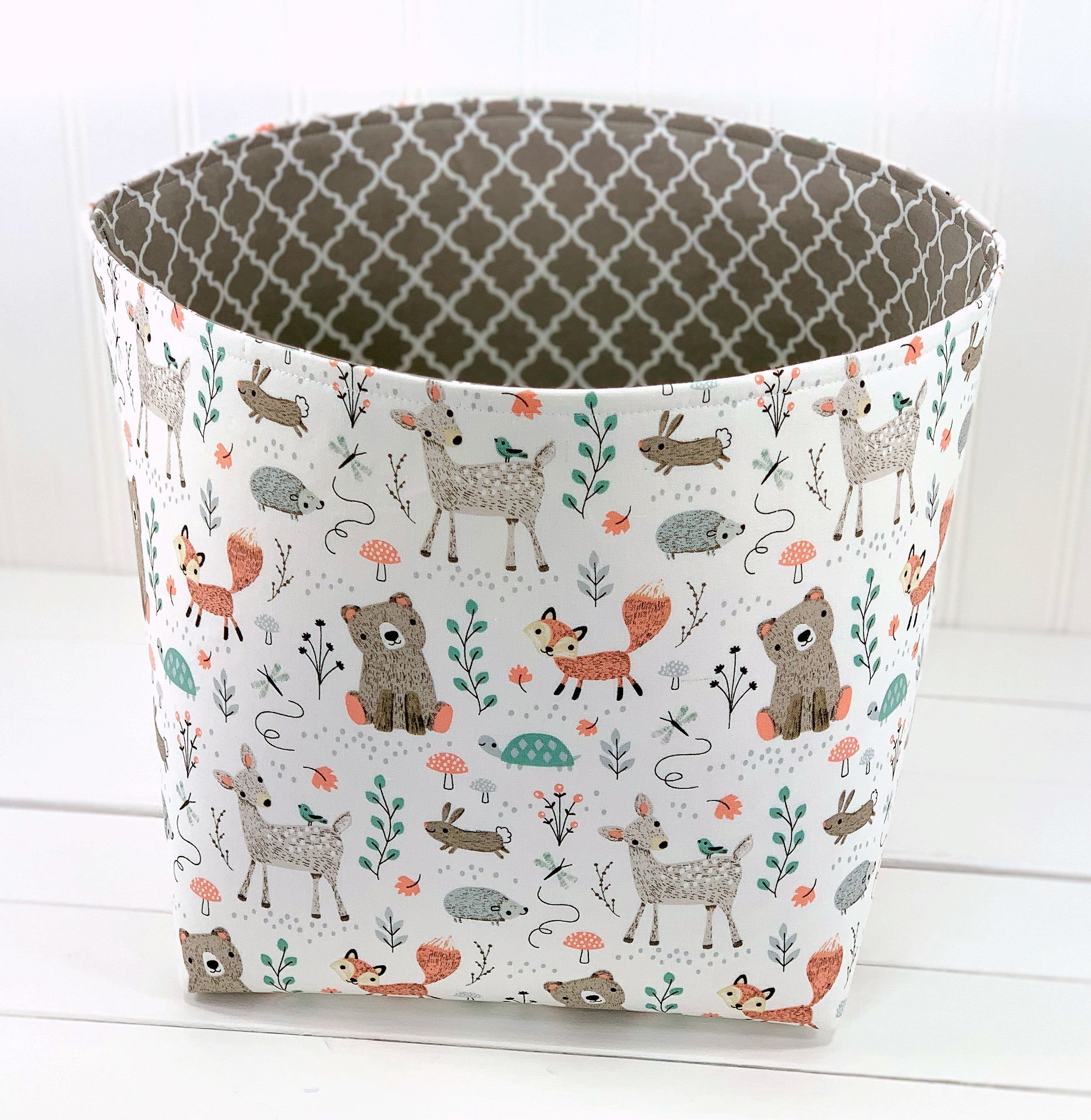 Woodland Nursery Fabric Storage Basket Organizer Bin Container Toy Storage Gray Deer Bears And Fox In 2020 Fabric Storage Baskets Fabric Storage Storage Baskets