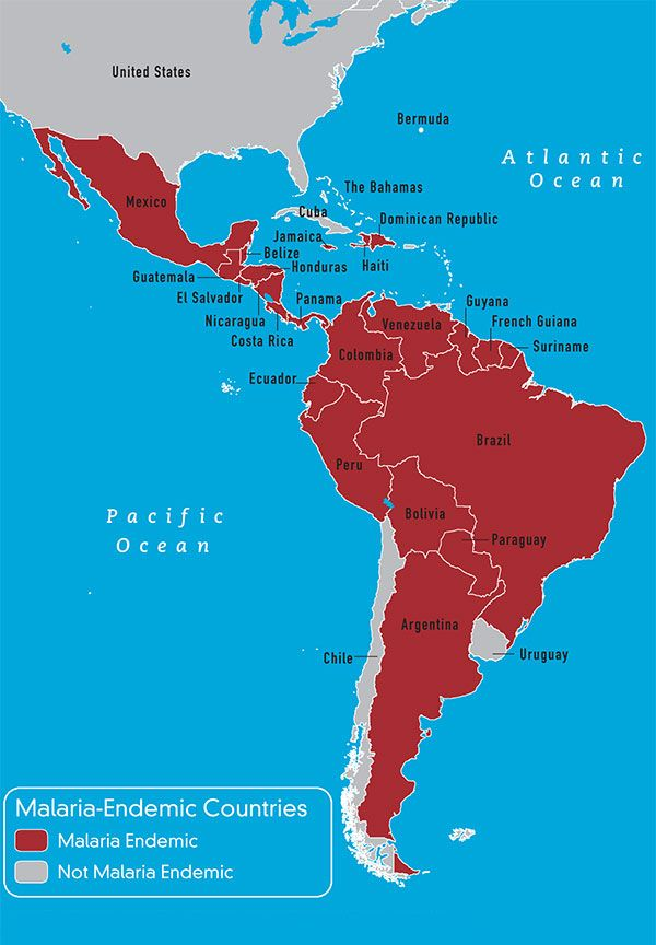 Map 3-9 Malaria-endemic countries in the Western Hemisphere | Bon ...
