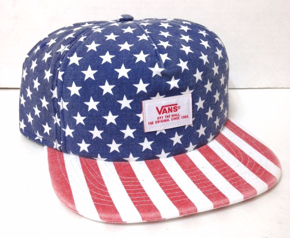 1f697d582 Vtg Faded Look VANS OFF THE WALL HAT American Flag Stars and Stripes ...
