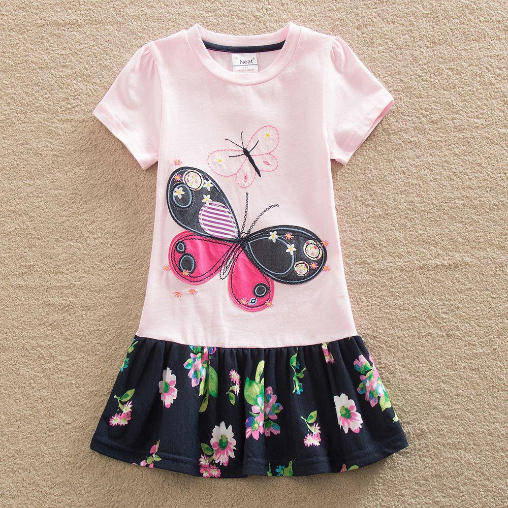 new neat retail baby girl clothes short sleeve girls dress kids