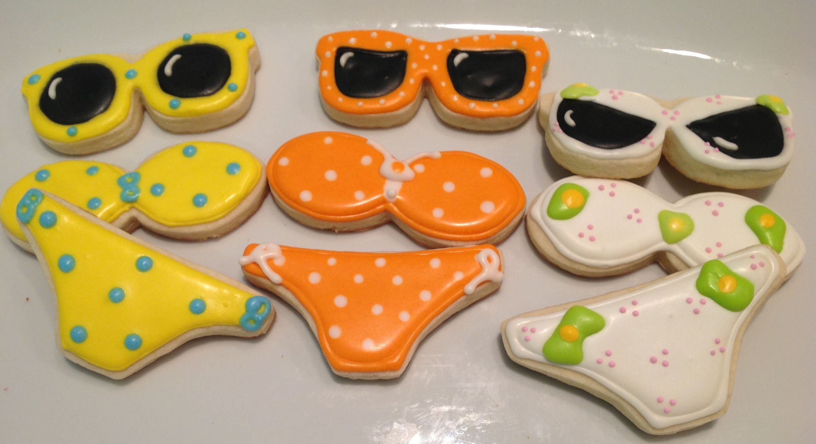 Bikini, Bathing Suits And Sunglasses  Decorated Sugar Cookies By