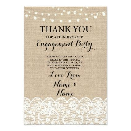 Wedding Thankyoucards Thank You Cards Burlap Lights Rustic
