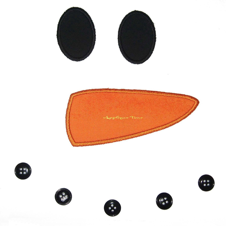 Snowman Face Machine Embroidery Applique Design