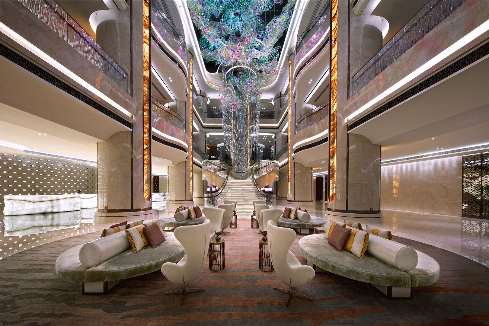 Hba jw marriott galaxy macau public space pinterest for Hotel interior design companies