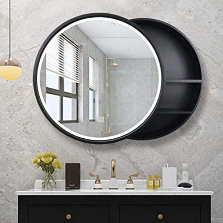 Amazon Com L Ed Illuminated Bathroom Mirror Cabinet Solid Wood Led Storage Mirror Wall Mounted Round Mirror Bathroom Bathroom Mirror Cabinet Mirror Cabinets