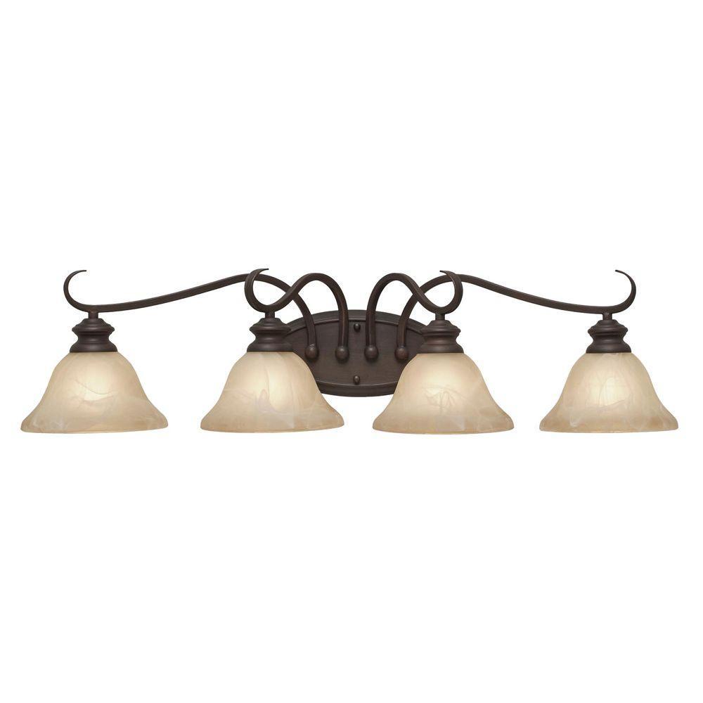 Photo of Golden Lighting Lancaster Collection 4-Light Rubbed Bronze Bath Vanity Light 005BA4MPRBZ – The Home Depot