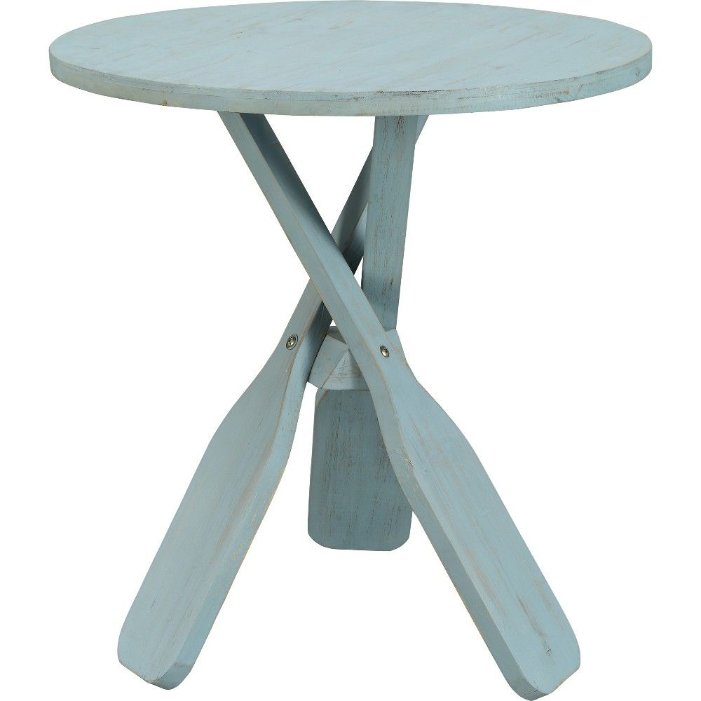 Coastal Round Oar Accent Table Blue Rub Treasure Trove In