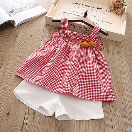 3-piece Baby Girl Solid Top and Bow Decor Plaid Shorts with Headband Set