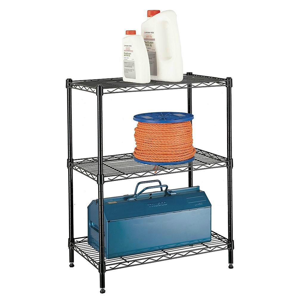 3 Tier Wire Shelving Rack Metal Multi Use Shelf Unit Home Garage ...